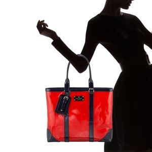 EUC KATE SPADE NY RED DAMA PATENT LEATHER TOTE